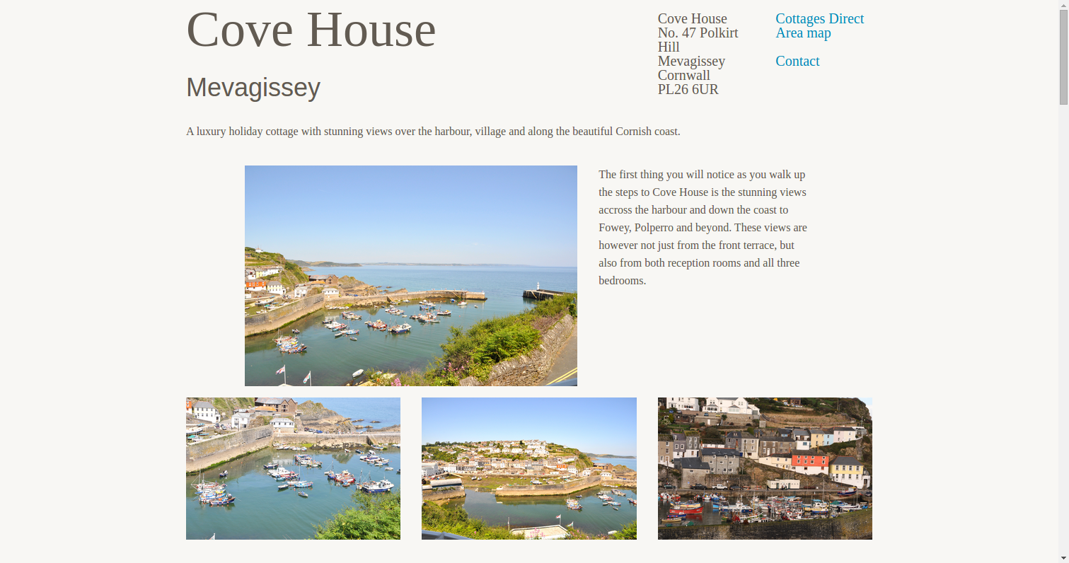 Homepage of the Cove House Mevagissey site